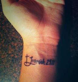 Wrist tattoo - Jeremiah 29:11